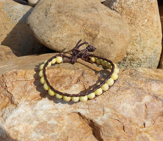 chan luu inspired leather wrap bracelet yellow jade brown leather summer sunflower
