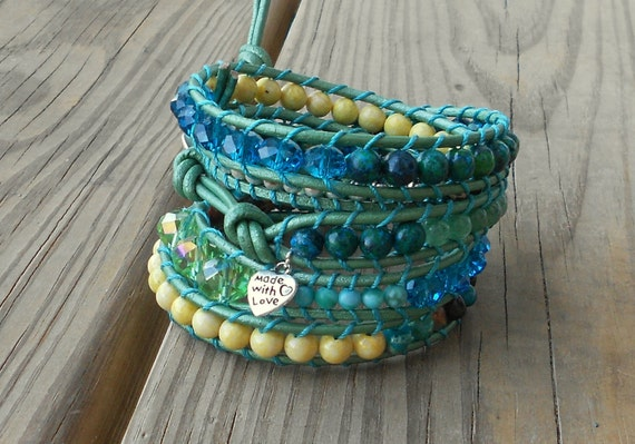 chan luu beaded leather wrap bracelet green blue yellow silver free people summer gemstone mother's day