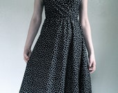 Vintage Black Dress with Tiny White and Red Bows