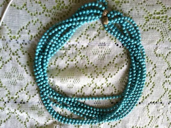 Aqua Layered Bead Necklace