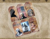 12111 Primitive George Washington Americana Colonial Hang Gift Bag Tags / Digital JPEG File- OFG