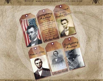 Printable Primitive Abraham Lincoln Colonial Americana Civil War Hang Gift Bag Tags / Digital Jpeg File- OFG