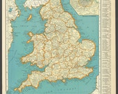 Vintage Map England From 1937 Original