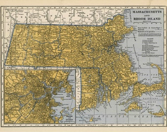 Vintage Map Massachusetts Original 1939 12 x 8 3/4 in