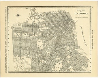 Vintage Map of San Francisco From 1937 Original