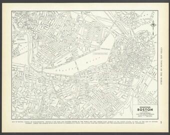 Vintage Map Boston Massachusetts From 1937 Original
