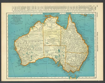 Vintage Map Australia From 1937 Original