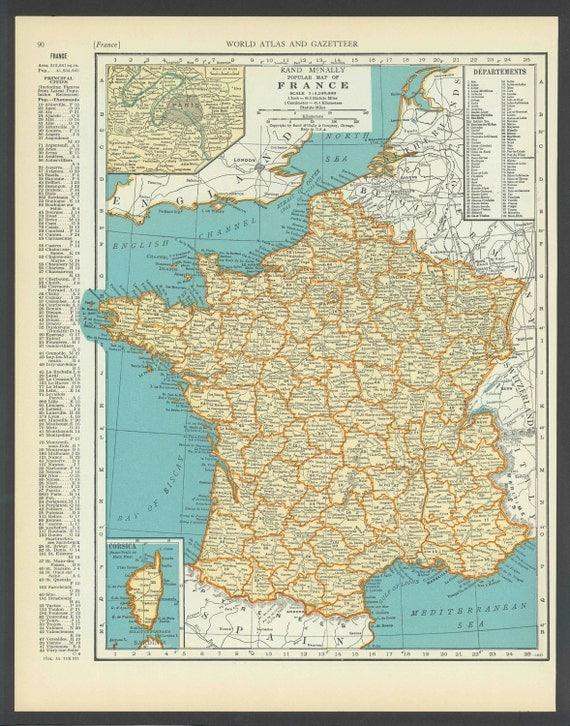 Vintage Map of France From 1937 Original