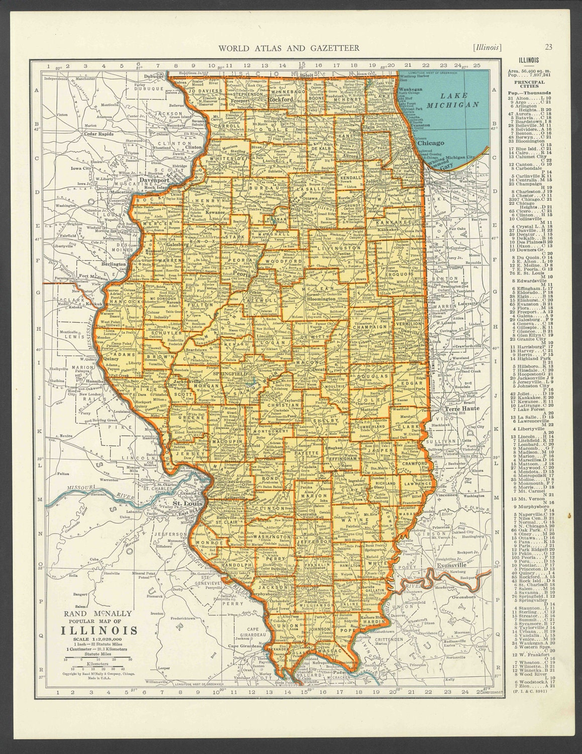 Vintage Map Illinois From Original - Ill map