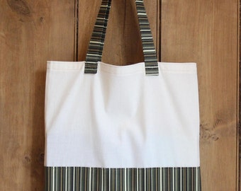 Calico and cotton flat book bag