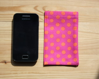 Smart Phone or iPod sleeve- Pink with Orange Dots