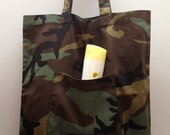 Large tote bag, cotton tote bag, military style, army style, tricoloured, Spring Summer