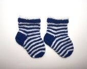 Baby Boy Socks deep blue and white,  up to 6 month, spring fashion, sea,ocean blue,  birthday gift, slippers