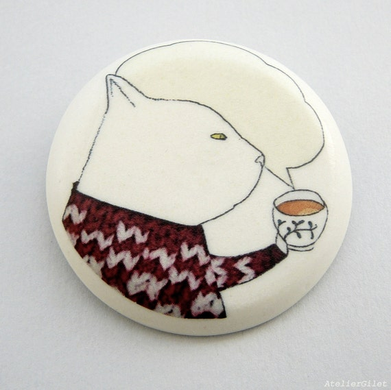 Tea time brooch illustrated porcelain by AtelierGilet -Tea in tricot - LARGE