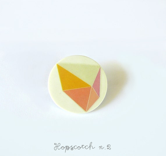 Geometric brooch prism minimal jewelry by AtelierGilet - Hopscotch n. 2