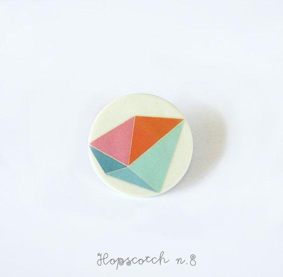 Pink blue geometric brooch porcelain jewelry by AtelierGilet - Hopscotch n. 8