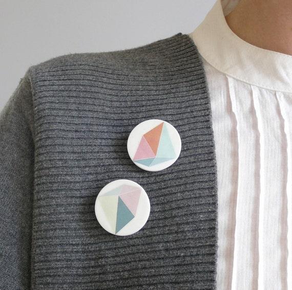 Geometric pastel brooch porcelain jewelry by AtelierGilet - set of 2