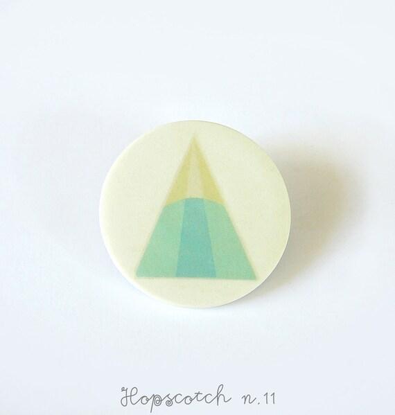 Mint triangle brooch minimal ceramic jewelry by AtelierGilet - Hopscotch n. 11