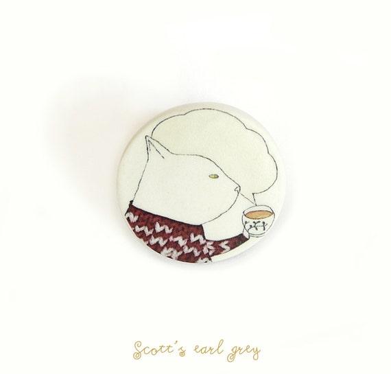 Tea invitation brooch by AtelierGilet. Gift for guest. Tea invitation gift -  Scotts earl grey