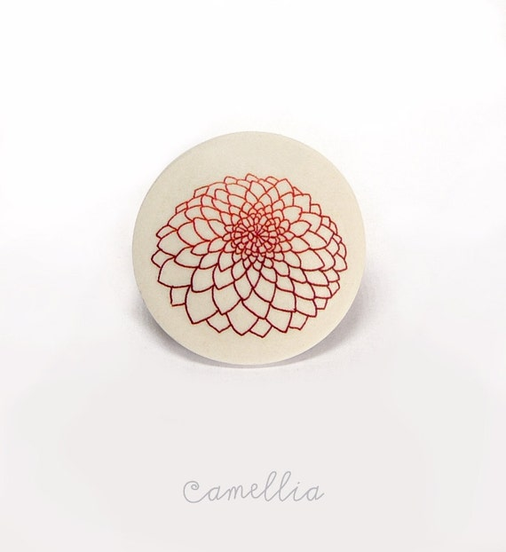 Red flower brooch ceramic jewelry by AtelierGilet - Camellia