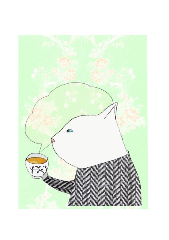 Cat with a cup of tea - art print by Atelier Gilet