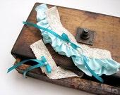 Wedding Garter: Teal Blue Lace Ruffled Garter Set