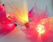 20 Magenta Bodhi Leave Flower Fairy Lights String 3.5M Home Accent Floral Decor
