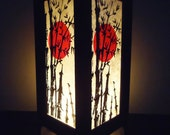 Asian Oriental Japanese Sunset Bedside Floor or Table Lamp Shades Wood or Bedside Paper Light Shades Furniture Home Decor