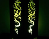 Asian Oriental Green Brave Chinese Dragon Bedside Floor or Table Lamp Paper Light Shades Furniture Home Decor
