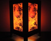 Asian Oriental Japanese Bamboo Dawning Zen Art Bedside Table Lamp Wood or Bedside Wood Paper Light Shades Furniture Home Decor