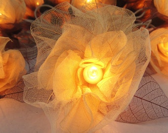 20 White Romantic Carnation Flower Fairy STRING LIGHTS Wedding Party Floral Home Decor 3.5m
