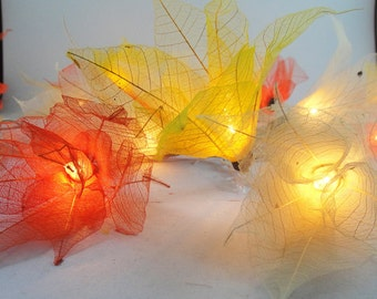 Battery or Plug 20 Sunshine Bodhi Leave Flower Fairy Lights Floral Party Patio Wedding Garland Gift Home Living Bedroom Holiday Decor
