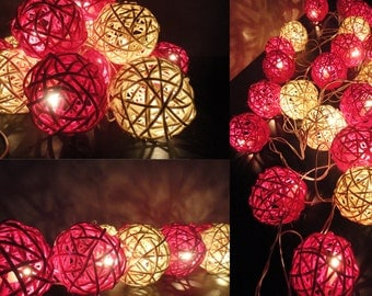 20 Mixed Magenta Tone Handmade Rattan Balls Fairy String Lights Party Patio Wedding Floor Table or Hanging Gift Home Decor
