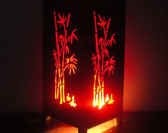 Asian Oriental Red Japanese Bamboo Trees Zen Art Bedside Floor Table Lamp Desk Paper Light Shades Living Bedroom Furniture Home Decor