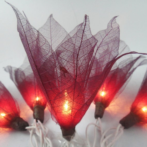 Battery or Plug 20 Burgundy Bodhi Leave Flower Fairy String Lights Floral Party Patio Wedding Garland Gift Home Living Bedroom Holiday Decor