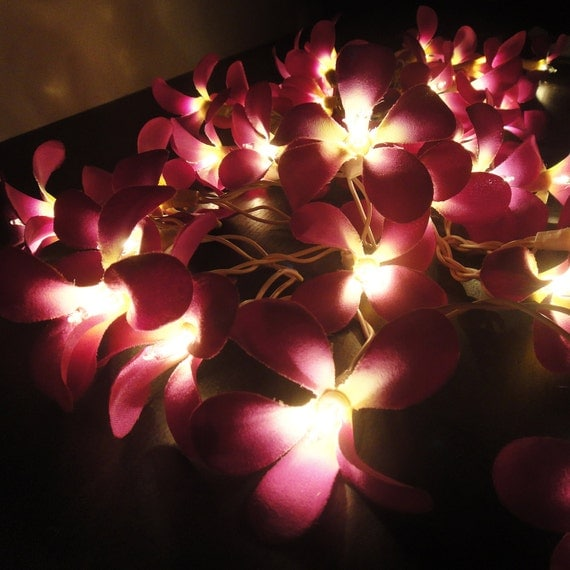 35 Flowers Purple Frangipani Fairy Lights String Home Accent Floral Party Patio Wedding Floor Table or Hanging Gift Home Decoration