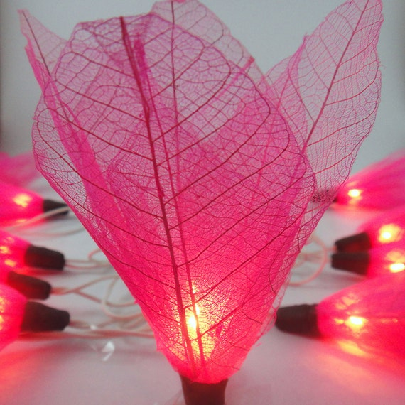Battery or Plug 20 Pink Bodhi Leave Flower Fairy String Lights Hanging Party Patio Wedding Garland Gift Home Living Bedroom Holiday Decor
