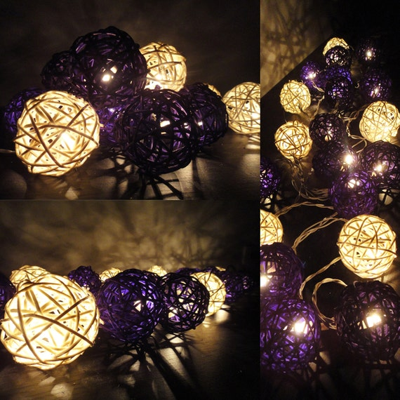 20 Mixed Purple Tone Handmade Rattan Balls Fairy String Lights Party Patio Wedding Floor Table or Hanging Gift Home Decoration