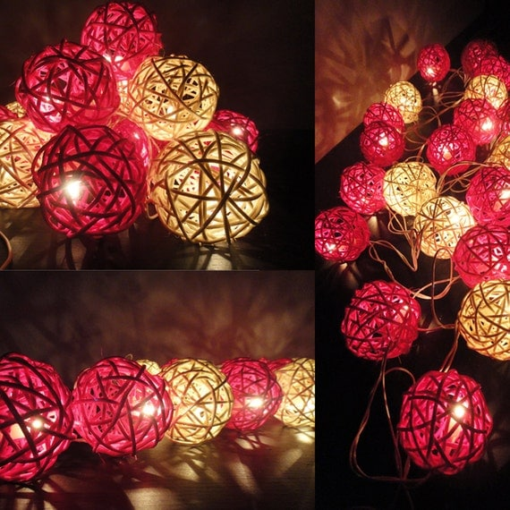 20 Mixed Magenta Tone Handmade Rattan Balls Fairy String Lights Party Wedding Patio