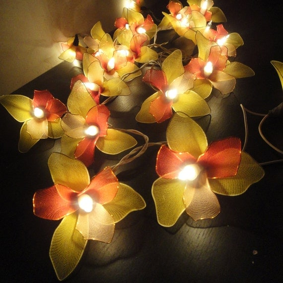 Battery or Plug 20 Red Lightpink yellow Orchid Flower Fairy String Lights Party Patio Wedding Garland Gift Home Living Bedroom Holiday Decor