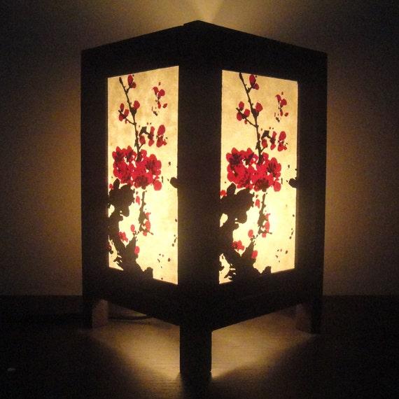 Asian Oriental Japanese Sakura Cherry Blossom Tree Zen Art Bedside Table Lamp Wood Light Shades Furniture Gift Living Bedroom Home Decor