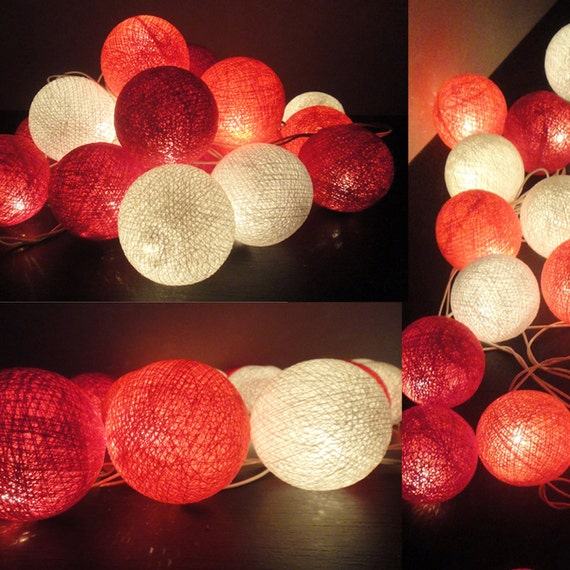 20 Big Cotton Balls Mixed Coral-Red Tone Fairy String Lights Party Patio Wedding Floor Table or Hanging Gift Home Decor Christmas Bedroom
