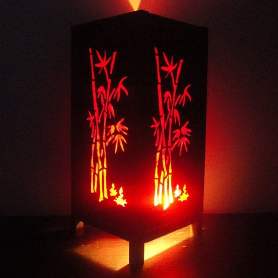 Asian Oriental Red Japanese Bamboo Trees Art Bedside Table Lamp or Bedside Paper Light Shades Furniture Home Decor
