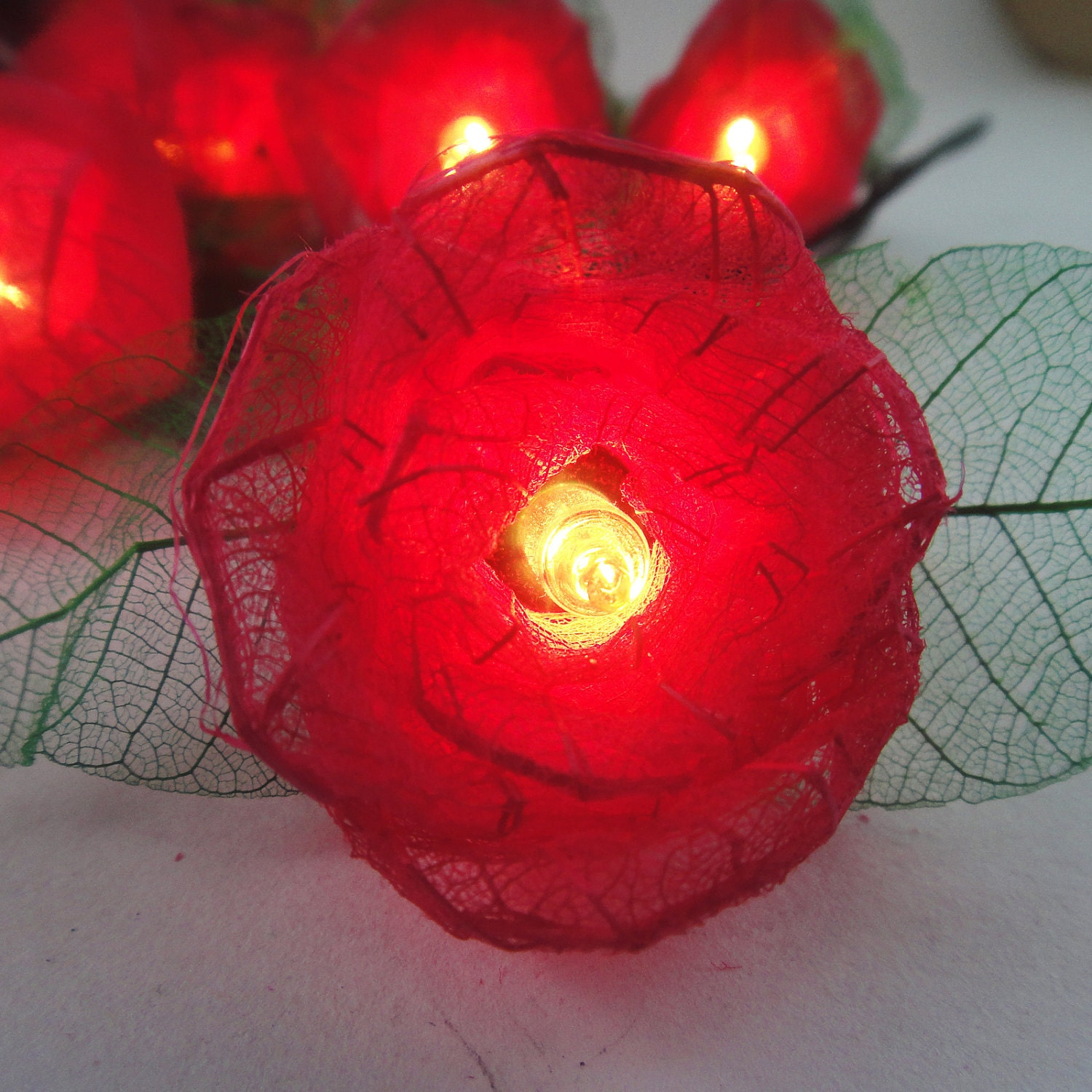 Red Flower String Lights : 35 Red Rose Flower Fairy String Lights Wedding by marwincraft