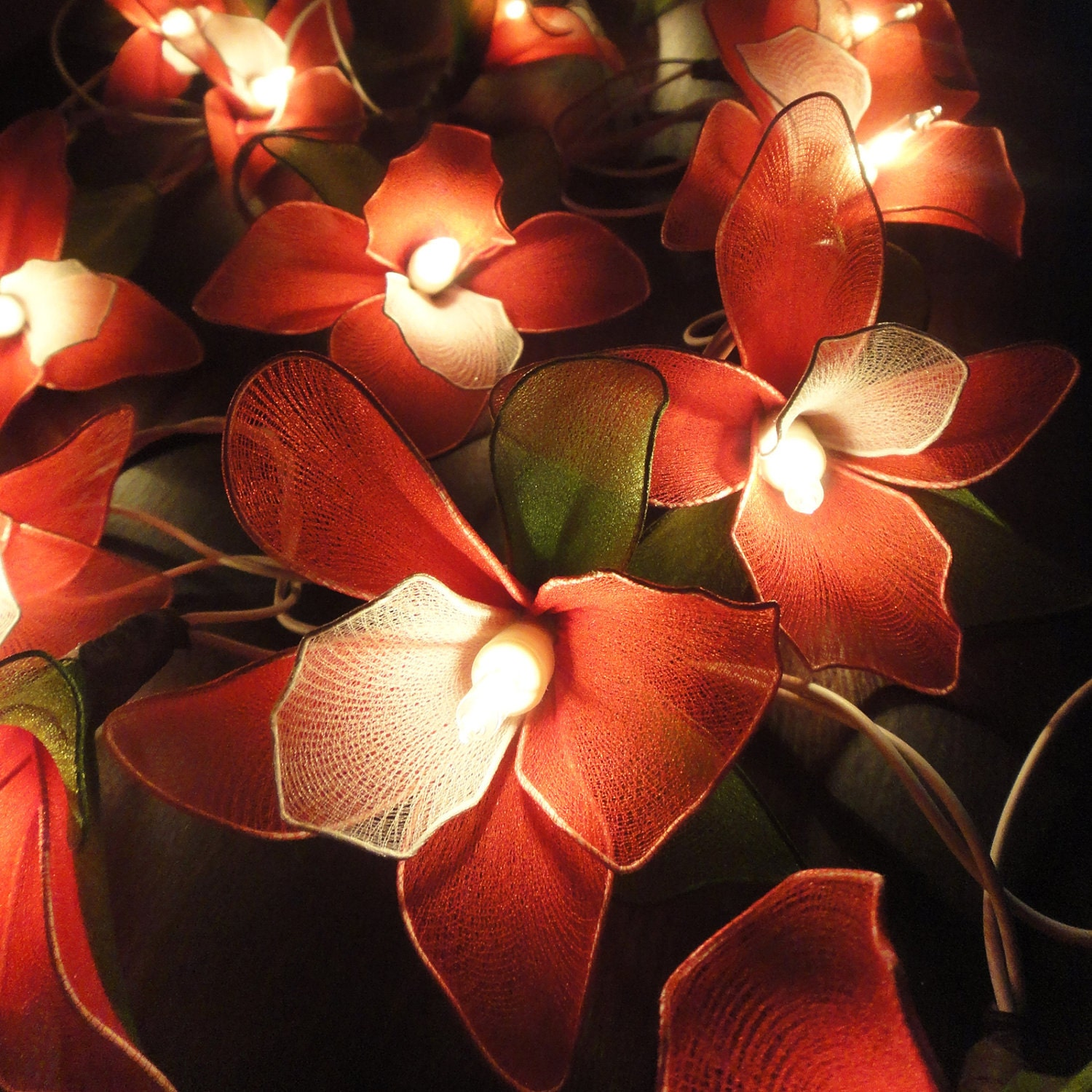 20 Red Orchid Flower Fairy String Lights Wedding by marwincraft