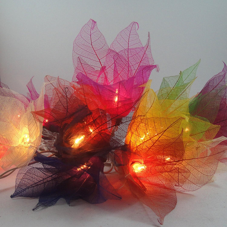 20 multi color bodhi leave flower fairy lights by marwincraft. Black Bedroom Furniture Sets. Home Design Ideas
