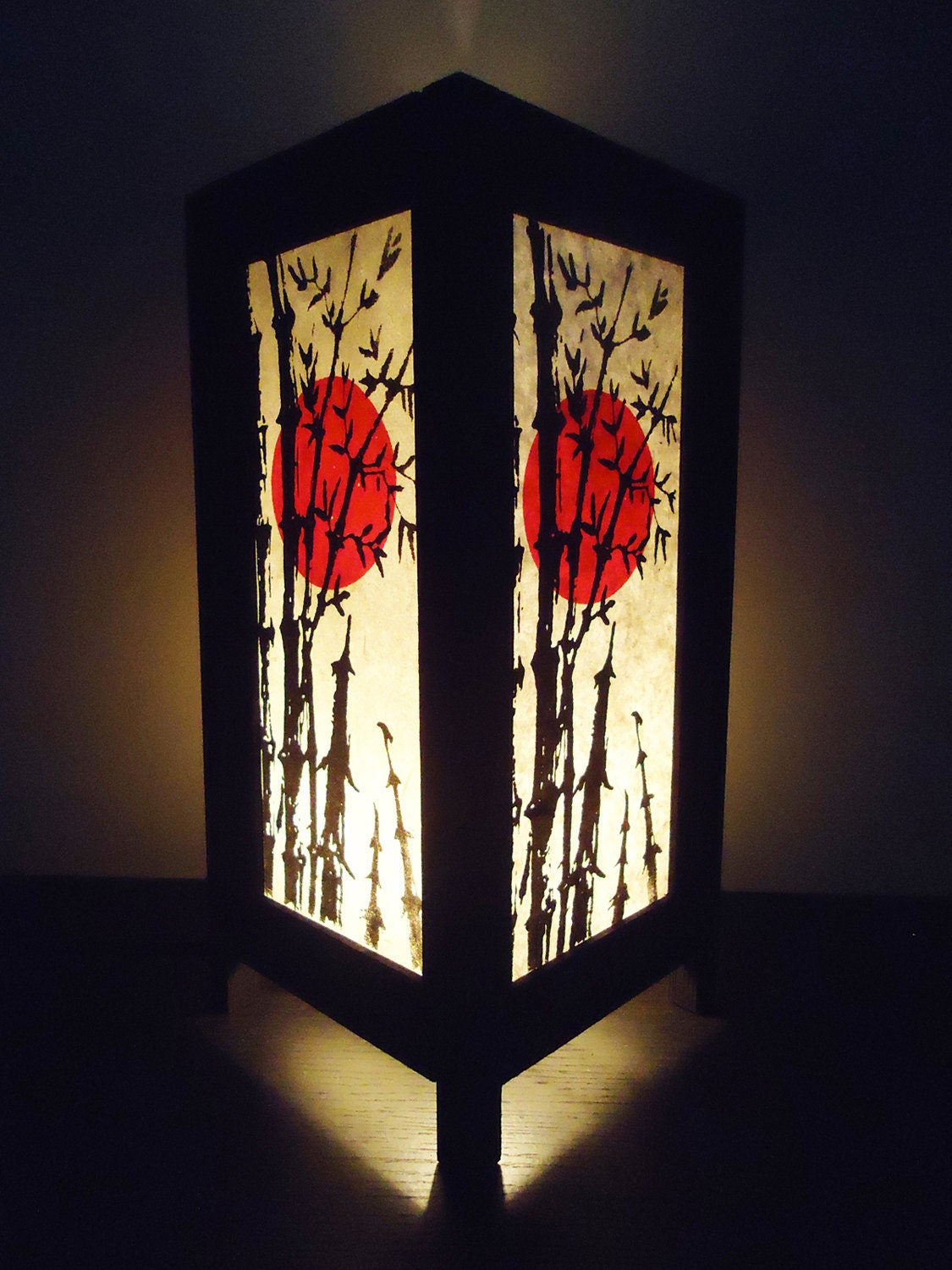 Asian oriental japanese sunset bedside floor or by marwincraft for Oriental wood floor lamp
