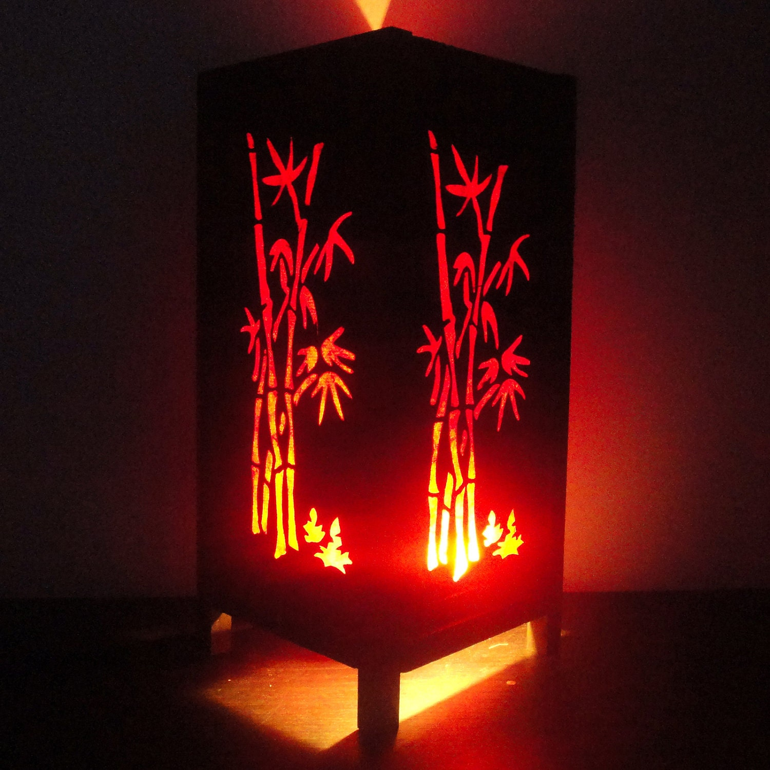 Asian Oriental Red Bamboo Japanese Lamp Zen Bedside Lamp Floor