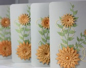 Blank Orange Flower Note Cards Set of 4 Gray