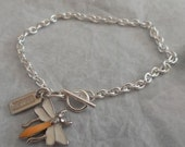 COACH Bug Charm on Silver Plated Cable Link Bracelet....Cute for Spring